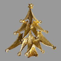 Vintage Gold Tone and Rhinestone Christmas Tree Brooch / Pin