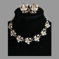 Vintage White Beaded Coro Choker and Clip Earrings