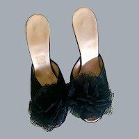 1950s Black Satin Peep Toe PomPom Mule Boudoir Kitten Heels SZ 7