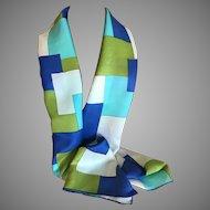 Vintage Geometric Patterned Rectangular Silk Scarf