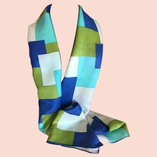 Vintage Geometric Patterned Rectangular Silk Scarf