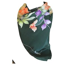 Vintage Hand Dyed Silk Floral Butterfly Scarf