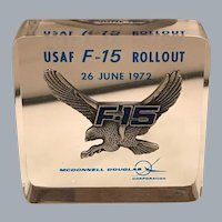 McDonnell Douglas Commemorative Lucite USAF F-15 Eagle Air Superiority Fighter Cube / Paperweight