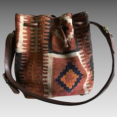 Vintage Boho Italian carpet and leather Hobo Bag