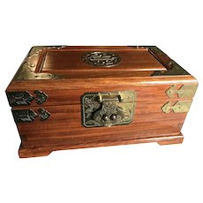 Vintage Teak and Brass Silk Lined Asian Jewelry Box