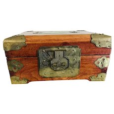 Vintage Rosewood Asian Jewelry Box with Jadite Inlay