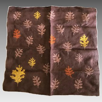 Vintage Fall Leaves Cotton Handkerchief