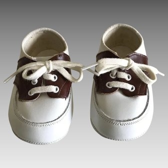 Vintage baby saddle oxfords in brown and white doll perfect