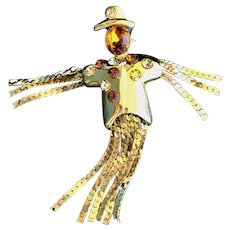 Vintage Halloween Goldplate Whimsical Scarecrow Brooch/Pin