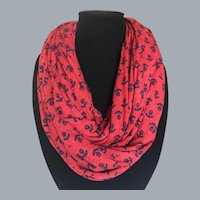A Passion for the Sea Deep Red and Navy Jersey Nautical Eternity Scarf