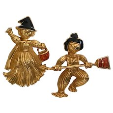 Vintage Avon Halloween Scarecrow Boy and Witch Girl Pins / Brooches