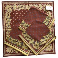 Four William Sonoma vintage bee motif cotton napkins