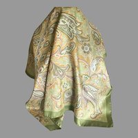 Vintage Janine Silk Satin Scarf made in Italy