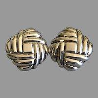 Vintage Sterling Silver Basket Weave Design Earrings