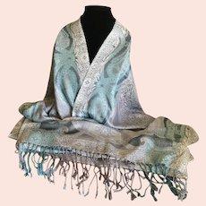 Blues and Silvers Silk Blend Pashmina Wrap / Shawl