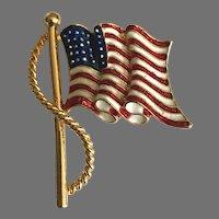 Vintage Goldtone and Enamel USA Flag Pin / Brooch