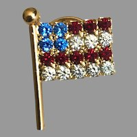 Vintage Red White and Blue Rhinestone Flag Lapel Pin