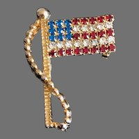 Vintage Red White and Blue Rhinestone Flag Pin