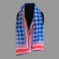 Vintage Patriotic Red White and Blue Nylon Chiffon Scarf