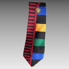 Gianni Versace Colorful Medusa Silk Necktie