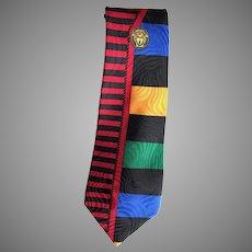 Vintage Authentic Gianni Versace Colorful Medusa Silk Necktie