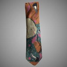 Vintage Italian Silk Tie with a Modern Art Design