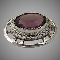 Vintage Sterling Silver Danecraft Faceted Amethyst Glass Brooch Pin