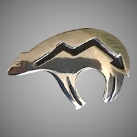 Sterling Silver American Indian Bear with Arrow Pin Brooch