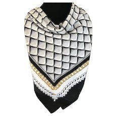 Tailored Black White and Gold Italian Polyester Scarf