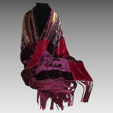 Vintage cut velvet artistic shawl wrap scarf in rich red pear