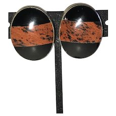 Vintage Mexican Obsidian Banded Clip Earrings