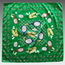 Vintage Emerald Green Let's Play Tennis Scarf