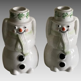 Vintage Belleek Irish Porcelain Snowman Candle Holders