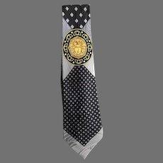 Gianni Versace Silver and Gold Medusa Silk Necktie