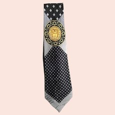 Gianni Versace Silver and Gold Medusa Silk Necktie