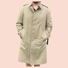 Mens khaki London Fog Rain Coat with Zip Out Lining