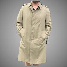 Mens khaki London Fog Rain Coat with Zip Out Lining