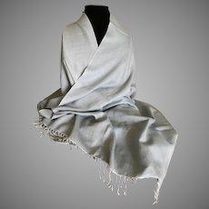 Vintage Pale Blue Cashmere Wrap Shawl