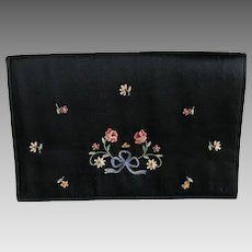 Vintage French black silk embroidered clutch purse handbag