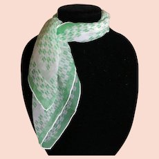 Vintage silk blend green and white scarf by Vera