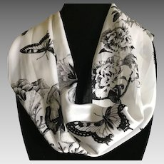Silk Satin Black and White Wild Butterfly Rectangular Scarf