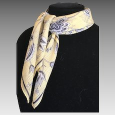 Vintage Silk Pale Yellow and Black Scarf