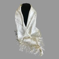 Vintage Silk Blend White Fringed Shawl / Wrap
