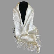 Vintage Silk Blend White Fringed Shawl / Wrap