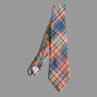 Vintage Drummond Clan Tartan Plaid Pure Wool Necktie Made in Scotland