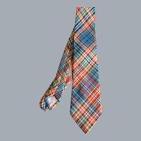 Vintage Drummond Clan Tartan Plaid Pure Wool Necktie Made in Scotland