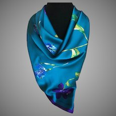 Laura Ashley Jeweled Blue Silk Charmuse Iris and Tulip Scarf