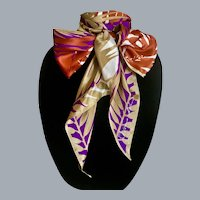 Anne Klein Lion Logo Silk Bow Tie Scarf