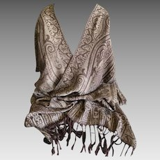 Vintage Cashmere Pashmina Wrap Shawl Scarf in Chocolate and Taupe