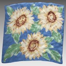 Vintage Silk Crepe Sunflower Scarf